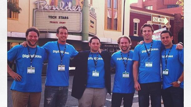 The DigitialOcean team during their time at the Techstars Boulder program in 2012. The founding team includes Chief Product Officer Moisey Uretsky (2nd from left), CEO Ben Uretsky (2nd from right), and CMO Mitch Wainer (far right.)