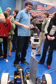 Worcester Polytechnic (WPI) had a robot to demonstrate. It looked like it could fling bean bags, but I didn't get to see a demo.