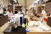 """The Grain Gathering's Bread Lab is  part of the Washington State University Mount Vernon plant breeding program. The curricula studies the diversity of locally grown grains """"to determine those most suitable for craft baking."""" The 500-square-foot lab offers steam-injected ovens and commercial-quality equipment to test various dough qualities. The lab received funds from a New Seasons sustainable business grant program."""