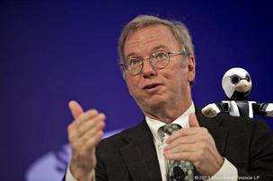 Eric Schmidt, executive chairman at Google, sees robots on his shoulder.