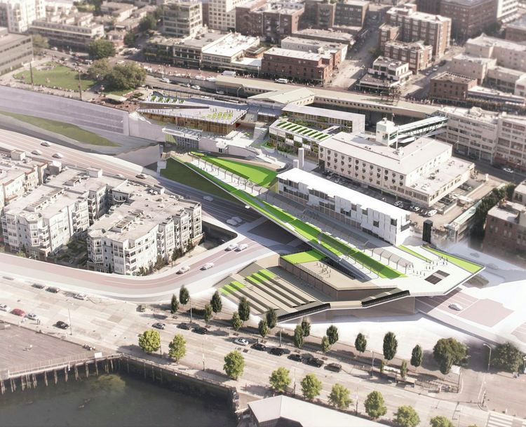 This aerial image shows the design for the new waterfront entrance to Pike Place Market. New drawings of the $65 million project were released Thursday.