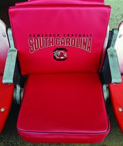 An example of a cushion seat that can be rented by fans at USC games and events.