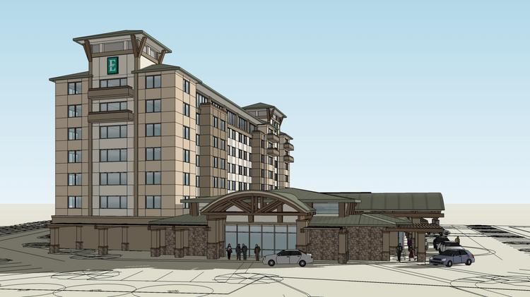 A 120-room hotel and conference center is prooposed at the current site of the 43-room University Inn and Suites Hotel in Davis. Preliminary renderings show it with Embassy Suites branding.