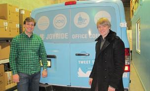 Joyride Coffee Distributors cofounders David Belanich, left, and Noah Belanich stand next to one of the delivery trucks for their company, which caters to many of New York City's tech startups by delivering fresh roasted artisan coffee. They're opening a facility in San Francisco next.