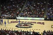 Basketball provides another venue and revenue opportunity for IMG College and its schools, including floor-level LED signage seen here at Colonial Life Arena in Columbia.