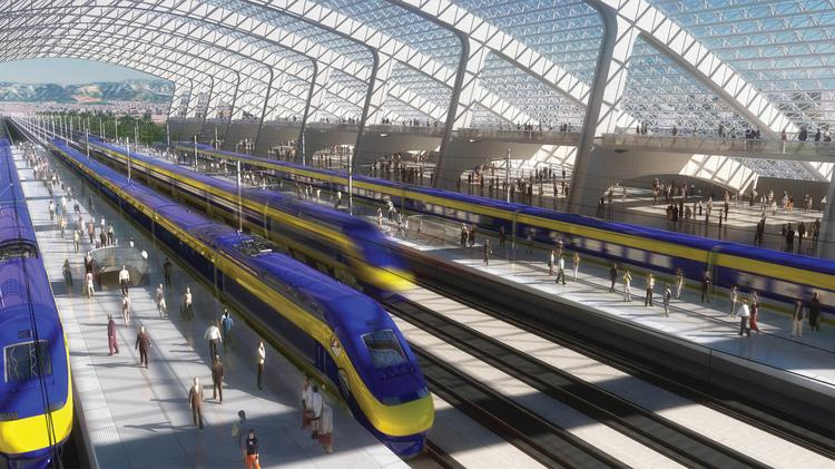 California's proposed high-speed rail system, depicted in an artist's rendering here, faces daunting financial and political challenges.