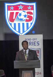 Jacksonville Mayor Alvin Brown addresses assembled media and guests announcing that the US Men's soccer team will play Nigeria June 7 at Everbank Field.