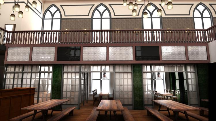 The owners of Taft's Ale House revealed the interior design of the 13,000-square-foot restaurant and brewery.