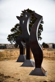 Several of the public art pieces have already been installed throughout the Bradford campus. Bradford developers are consulting with Cary landscape architect Jim Davis and his company, Sculpture in the Landscape, to connect with sculpture artists in the region. The cedar tree in the back shades a family cemetery that has been protected near the entrance into Bradford.