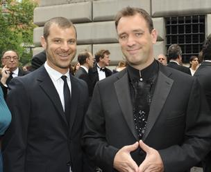 South Park creators Matt Stone, left, and Trey Parker were very much involved in creating their newly released video game, Stick of Truth. Here they appear at the 2011 Tony awards in New York, U.S., in June  2011 when their Broadway show The Book of Mormon won for best musical.