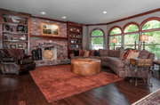 19217 Brookhollow Drive: The family room features hardwood floors.