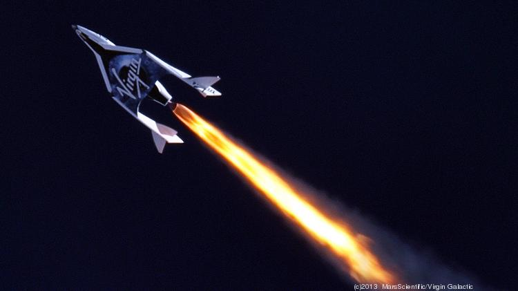 Virgin Galactic's SpaceShipTwo over the Mojave Desert in April, the first time the rocket motor was fired in flight, taking the craft supersonic.