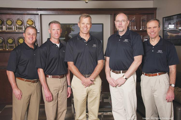 The Cobalt Boats management team, from left: Gavan Hunt, vice president for sales and marketing; Sean Callen, president; Paxson St. Clair, CEO; Gary Schultz, vice president for operations; Bill Wallisch, CFO.