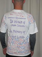 "Greg Kalkwarf, in a ""Boylston or Bust"" T-shirt he made for the Boston Marathon. He ran the marathon to raise money for the Alzheimer's Association, and the shirt is filled with the names of people who donated in his name."