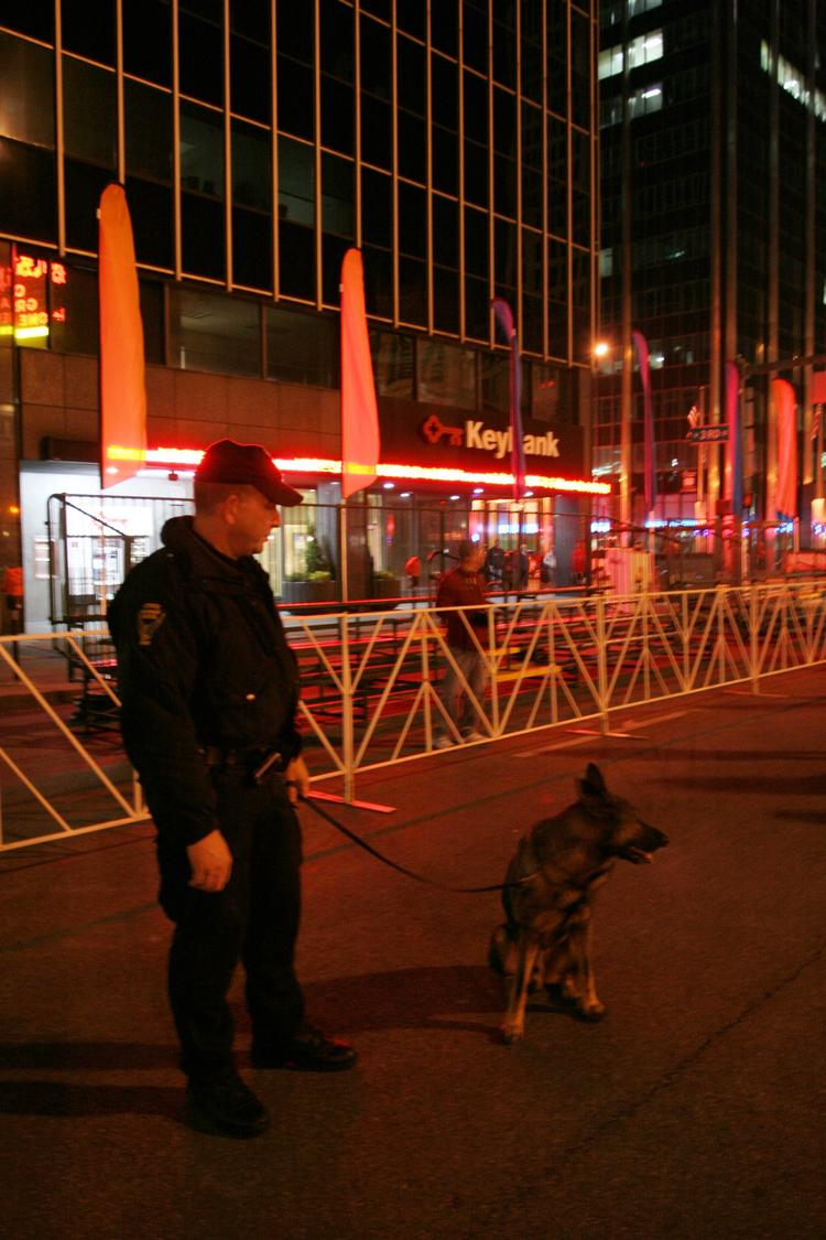 A bomb-sniffing dog was part of the security precautions at last year's Columbus Marathon.