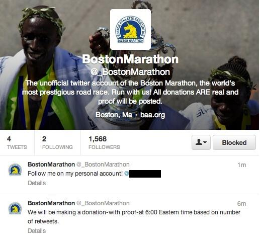 The (now-defunct) Twitter account @_BostonMarathon, which purported to be soliciting donations following the Marathon Monday bomb attack, is named in a document warning of marathon-related Internet scams.