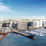 Kastles exploring a partially floating stadium on The Wharf waterfront