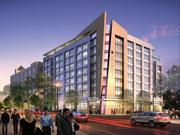 A twilight rendering of the Hyatt Place hotel at 2401-2407 Wilson Blvd., to be developed by the Schupp Cos.