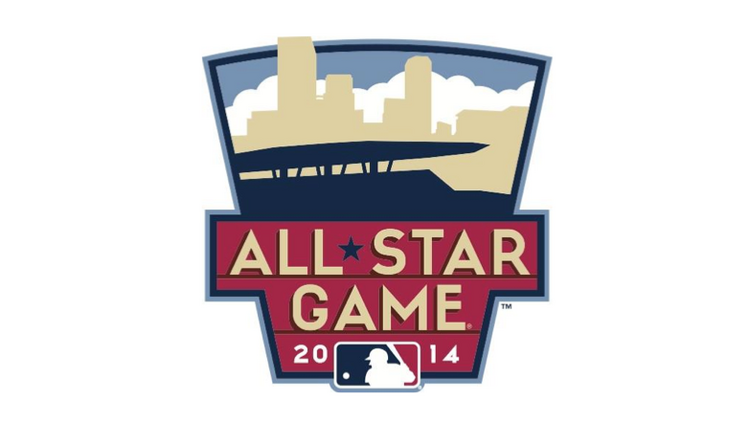 The 2014 All-Star Game logo features Target Field and the Minneapolis skyline.