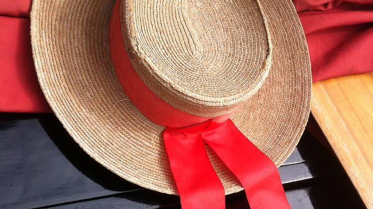 This gondolier's hat belonged to the original owner of the gondola back in Venice. Sandri keeps it aboard for good luck.