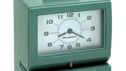 The green Model 125 time-card punching clock is trademarked by Acroprint in Raleigh.