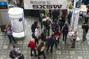 Attendees walk through the halls of the Austin Convention Center at the South By Southwest (SXSW) Interactive Festival.