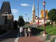 Students stroll the University of Denver campus.