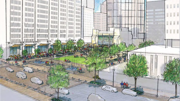 A rendering shows what Hopkins Plaza could look like if the 25,000-square-foot Mercantile Pavilion building were demolished to make way for a park.