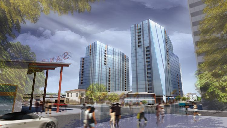 A rendering of the fully approved Silvery Towers project in downtown San Jose.