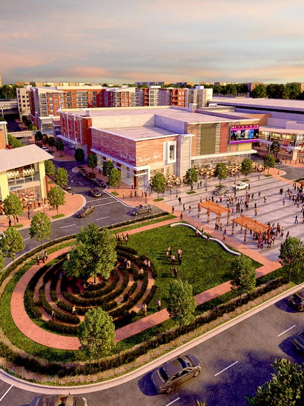 An aerial view of the future Landmark Mall and the roundabout plaza.