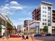 A rendering of the planned redevelopment of the Landmark Mall, from traditional enclosed mall to open air shopping center.