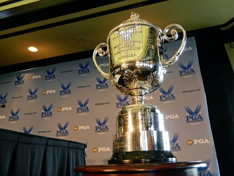 The Wanamaker Trophy, which is awarded annually to the winner of the PGA championship, was on display at Valhalla during the ticketing process announcement.