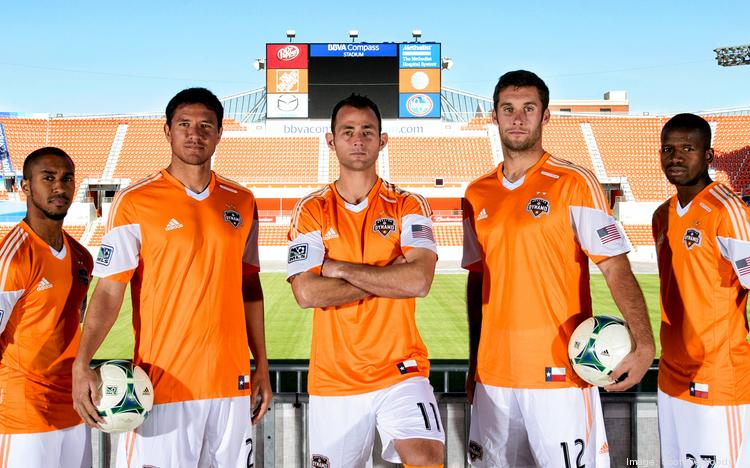 The Houston Dynamo took the No. 4 spot on Forbes' new list of the most valuable teams in Major League Soccer. Left to right, Houston Dynamo players Corey Ashe, Brian Ching, Brad Davis, Will Bruin and Boniek Garcia