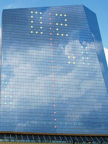 Last year, the Cira Centre was transformed into a large Pong screen. This year, it's Tetris.