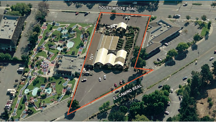 A 1.56-acre site at South Wolfe Road and El Camino Real, shown here outlined in red, has sold to a hotel-development group.