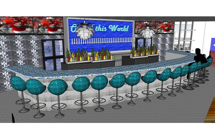 An artists rendering of the bar at the new East Memphis Mellow Mushroom