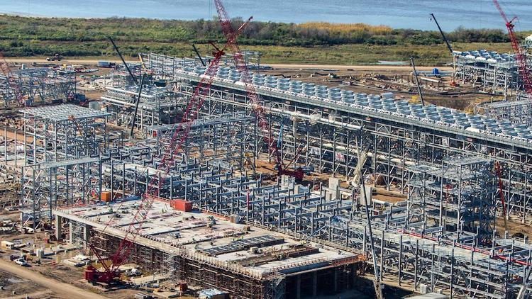 The energy sector will be a big source of construction jobs over the next year or two, thanks in part to LNG export terminals like this one being built in Sabine Pass, La.