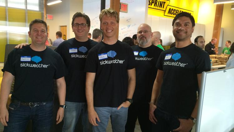 Sickweather employees pose at the new Sprint Accelerator in Kansas City. From left to right: Zephrin Lasker, Graham Dodge, John Erck, Michael Belt, James Sajor.
