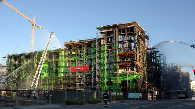 The future of a 172-unit apartment building at corner of 4th and China Basin streets in Mission Bay remains unclear as developer BRE Properties assesses the damage. Photo by Matt Petty.