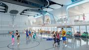 This rendering shows a basketball court aboard Royal Caribbean's new Quantum of the Seas cruise ship, which is set to debut in fall 2014. The court is part of the ship's SeaPlex.