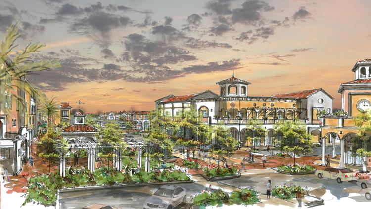 A rendering shows the downtown Temple Terrace Master Plan by Vlass Temple Terrace LLC.
