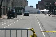 A view of Dartmouth Street one day after two bombs were set off at the finish of the Boston Marathon.