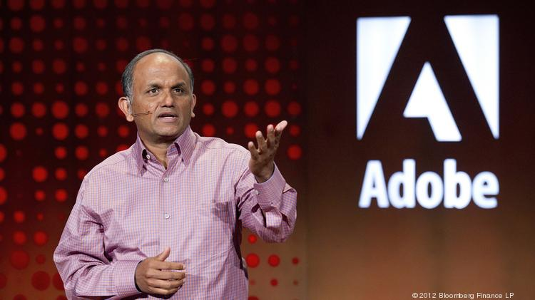 Shantanu Narayen, president and chief executive officer of Adobe Systems Inc. His company is one of the public firms scheduled to release an earnings report next week.