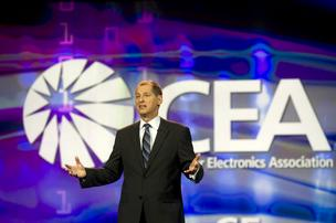 Gary Shapiro, president and chief executive officer of the Consumer Electronics Association (CEA), speaks during the 2012 International Consumer Electronics Show (CES) in Las Vegas.