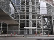 The first bus stop for the Free MetroRide is close to completion at the corner of Lincoln Avenue and 17th Street, in front of Wells Fargo Center.