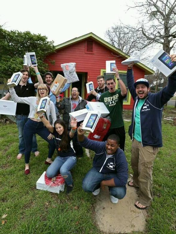 The StartupBus Florida team showing their renewed spirit after receiving new equipment once word went out on social media about their plight.