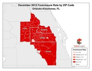 The rate of foreclosures in the Orlando-Kissimmee-Sanford area fell 1.87 percentage points in December 2012 to 10.37 percent.