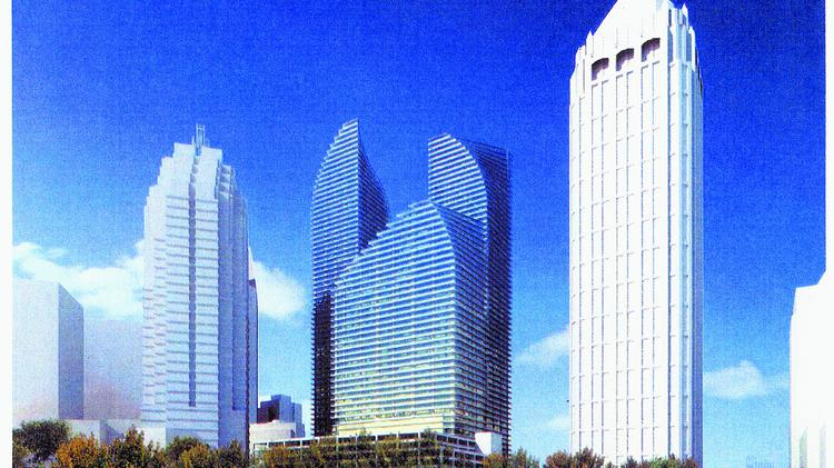98 14th St. three-tower project (center) would include a 60-story tower.