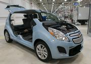 The new Chevy Spark EV, on display during a GM event celebrating the first electric motor at their Baltimore location. The motor is the first electric motor built in the U.S.