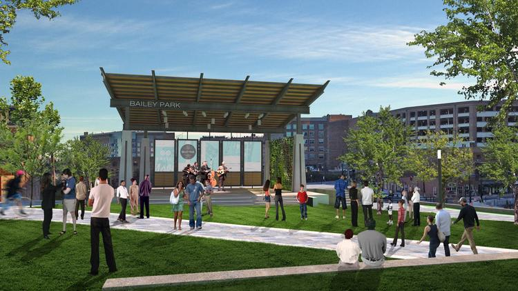 A view of the stage in the planned Bailey Park at East End in downtown Winston-Salem.